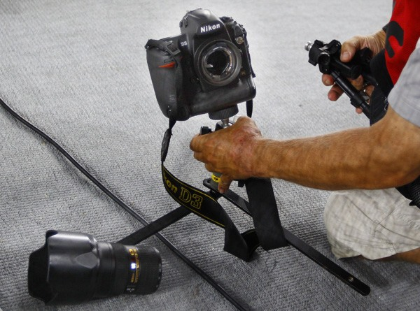 Nikon camera crashed by a hammer during the IAAF 2011 World Championships in Daegu, August 29, 2011.