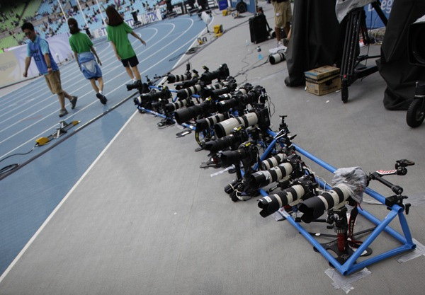 Remote cameras during the IAAF 2011 World Championships in Daegu.