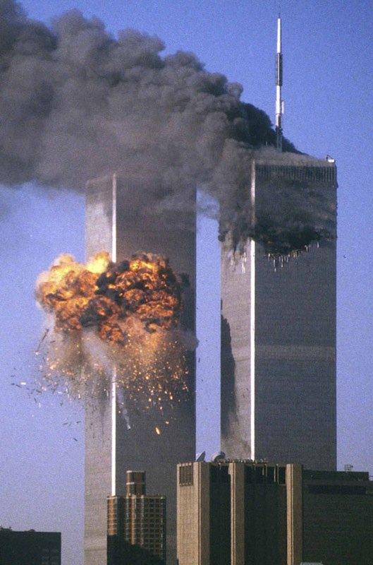 FILE PHOTO OF TOWERS BURNING AFTER SEPTEMBER 11 ATTACK.