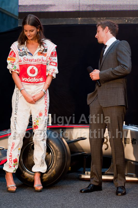 Reka Ebergenyi and McLaren Formula One driver Jenson Button of Britain