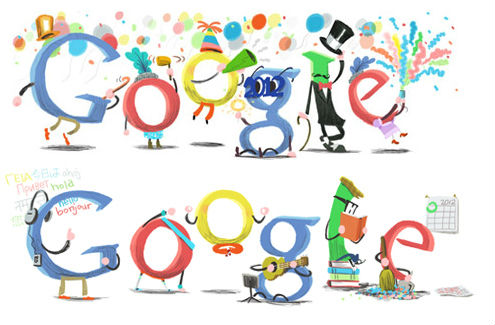 Google New Year doodles 2011-2012