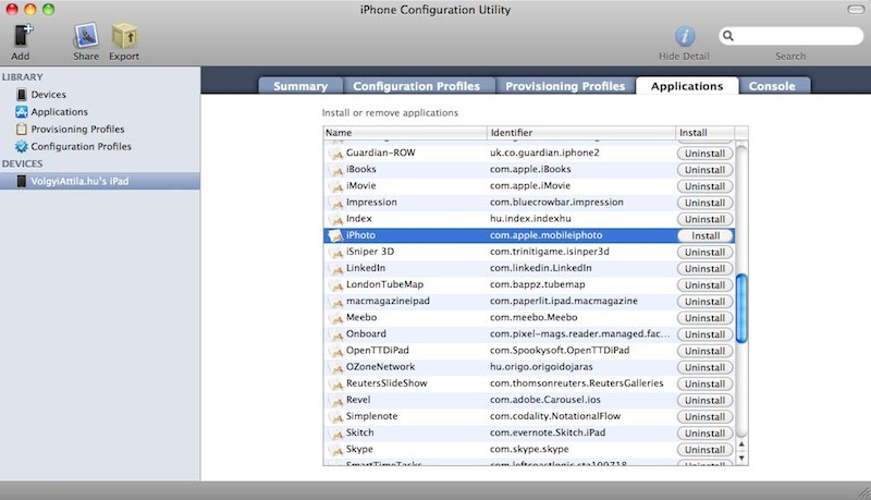 Apple iPhone Configuration Utility Apple tipp: iPhoto és iMovie a régi iPaden is