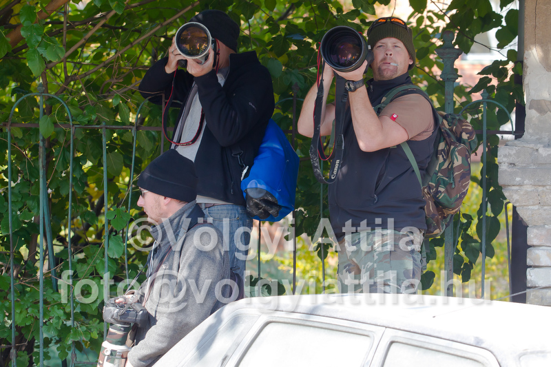 Paparazzis following Angelina Jolie and Brad Pitt shooting movie in Budapest