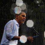 Kampány az esőben – Obama is bőrig ázott