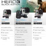 GoPro3 választás: Fehér, Ezüst és Fekete