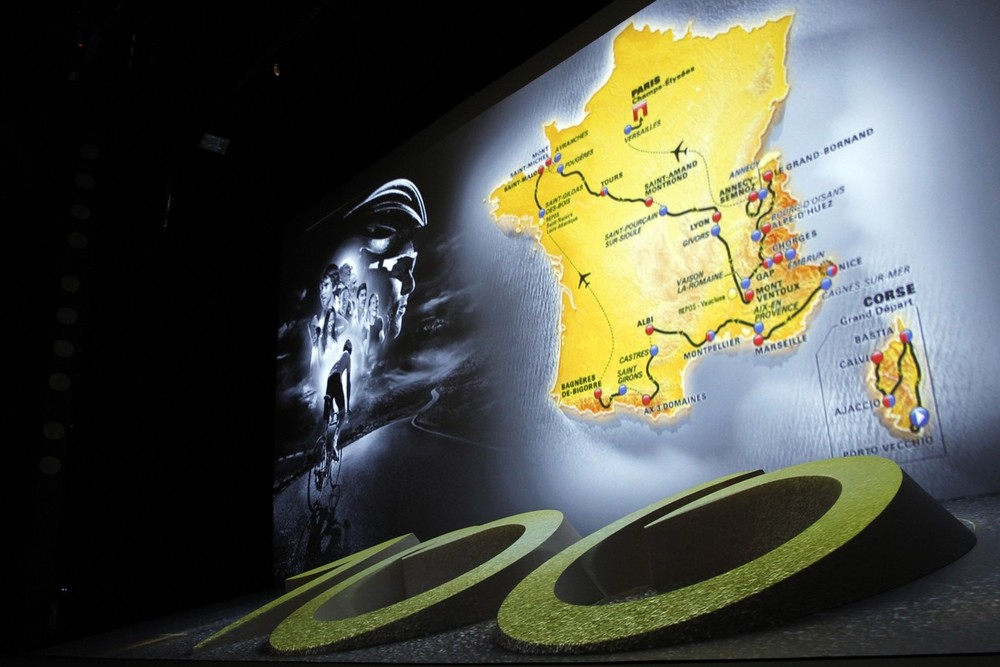 The itinerary of the 2013 Tour de France cycling race is presented at a news conference in Paris