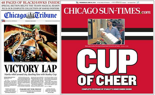 Chicago Tribune és Chicago Sun-Times címlap
