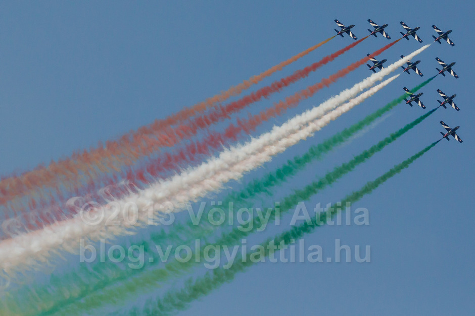 MB-339 aircrafts of the Frecce Tricolori squadron from the Italian Airforce
