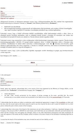 Az Attraction tiltó nyilatkozata