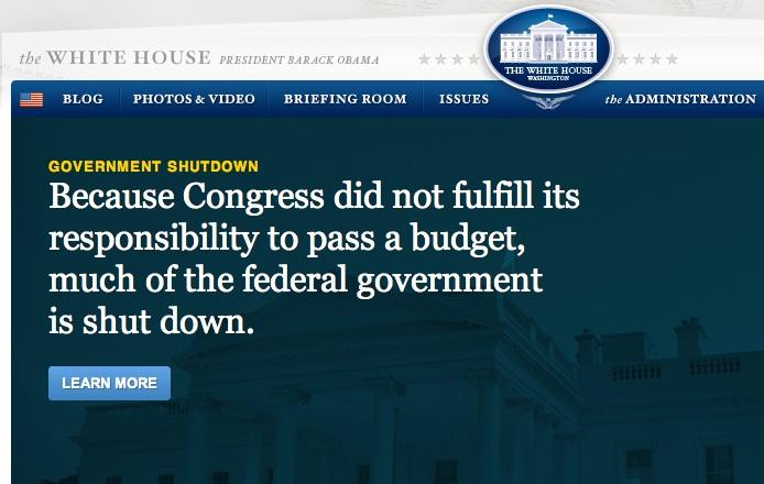 """""""Mivel a Kongresszus nem teljesítette feladatát a költségvetés elfogadásával, a szövetségi kormányzati jelentős része leállt."""" Üzenet a Fehér Ház oldalán"""