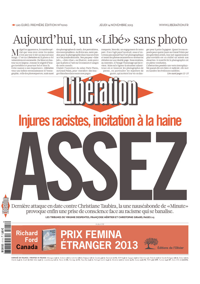 A Libéracion november 14-ei címlapja fotók nélkül