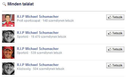 Like gyűjtés Schumi halálhírével a Facebookon