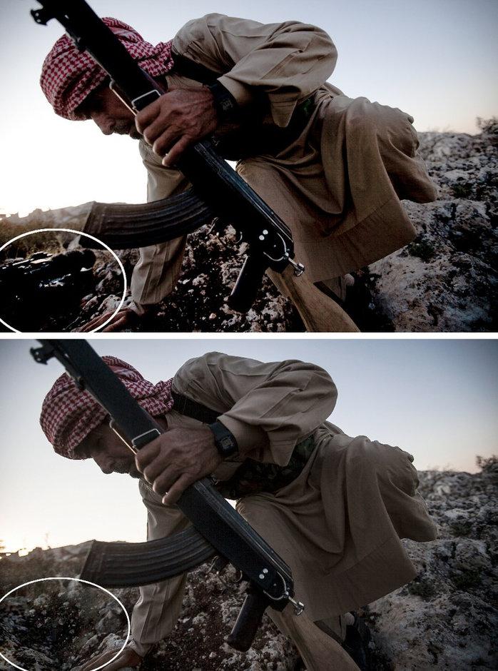 A manipulált kép és annak eredetijeFotó: Narciso Contreras/AP