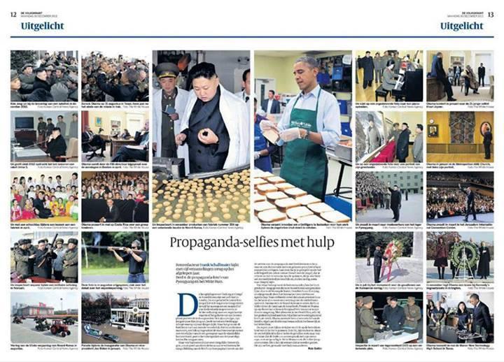 Demokratikus vezető és diktátor, közel azonos propaganda képeiÖsszeállítás: Volkskrant