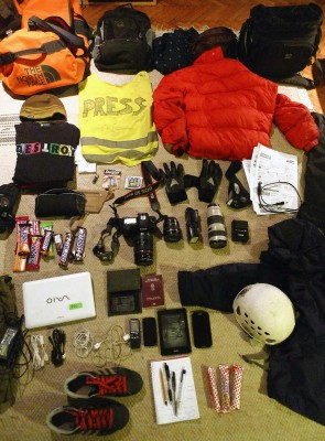 Gear of Andras Foldes (Index) before travel to Kiev