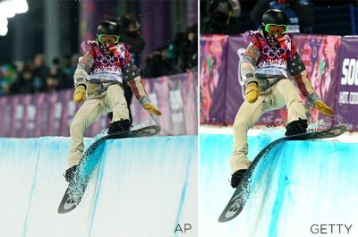 Shaun White of the United States crashes out in the Snowboard Men's Halfpipe Finals on day four of the Winter Olympics on February 11, 2014 in Sochi - Left photo by Andy Wong/AP - Right photo by Cameron Spencer/Getty Images