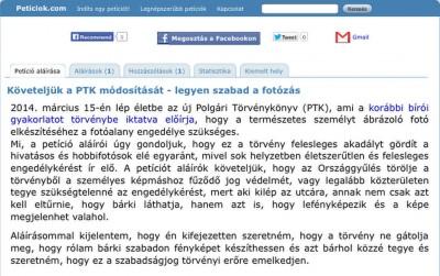 Követeljük a PTK módosítását - legyen szabad a fotózás - Peticiok.com (magyar)