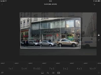 Vágás az iPad Lightroomban