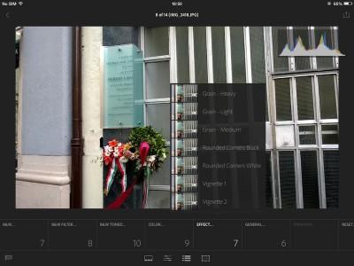 Szűrők az iPad Lightroomban