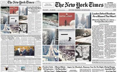 Instagram fotók a New York Times címlapján
