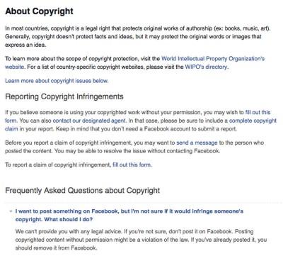 """Facebook szerzőjogi tanács:""""Ha nem vagy benne biztos, hogy jogod van feltölteni a Facebookra, akkor inkább ne töltsd fel. Szerzői jogvédett tartalom engedély nélküli feltöltése törvénysértés. Ha már posztoltad, akkor töröld a Facebookról!"""""""