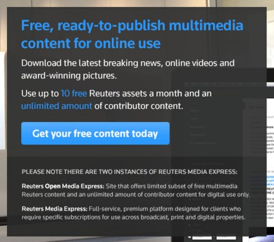 A Reuters ingyenes ajánlataTíz kép a saját anyagokból, bármennyi a máshonnan kapottakból.